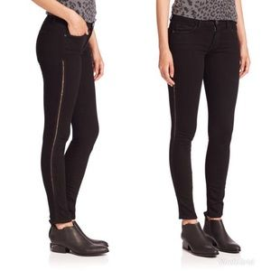 Current Elliott Jet Black Crochet Skinny Jeans